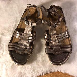 Ecco silver metallic leather strap sandals